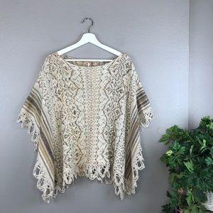 Free People Casablanca Boho Cape Poncho Sweater